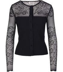 black ottoman knit cardigan
