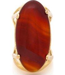 anel  oval  semijoia banho de ouro 18k pedra natural ágata