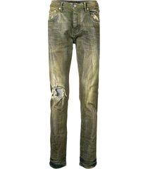 purple brand distressed tie-dye skinny jeans - green