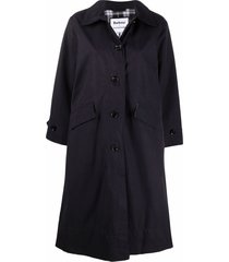 barbour x alexa chung buttoned mid-length coat - blue