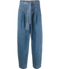 see by chloé tie-waist wide-leg jeans - blue