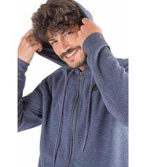 casaco de moletom mescla efeito micro pontos masculina