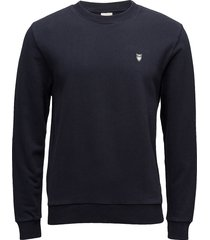 elm small owl sweat - gots/vegan sweat-shirt trui blauw knowledge cotton apparel
