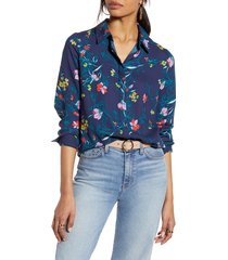 women's halogen hidden button long sleeve blouse, size x-large - blue