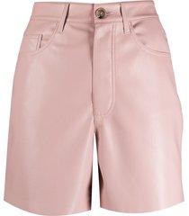 nanushka leana vegan leather shorts - pink