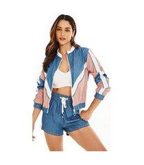 jaqueta morena rosa esportiva com recorte azul