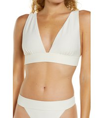 women's chelsea28 textured plunge bikini top, size x-large - ivory