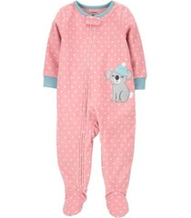 carter's toddler girl 1-piece koala fleece footie pjs