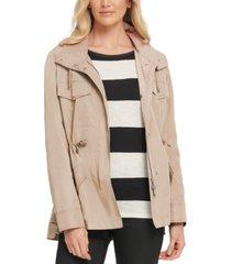 dkny high-low drawstring-waist utility jacket