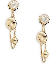18k yellow gold & diamond gold disc drop earrings