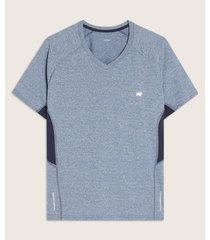 camiseta jaspe cuello en v con cortes unicolores en costados