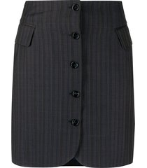 acne studios button up striped skirt - blue