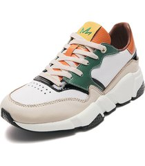 tenis lifestyle blanco-verde-naranja-amarillo piña colada