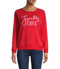 prince peter collection women's santa's fave sweatshirt - red - size xs