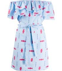 love moschino printed poplin dress - blue