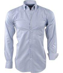 ambassador ongetailleerd heren overhemd trendy motief in de kraag borstzak licht grijs
