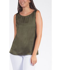 blusa básica adrissa satinada manga sisa mujer verde militar