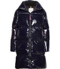 high gloss down puffer coat gevoerde lange jas blauw tommy hilfiger