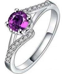 anillo solitario morado casual plata arany joyas