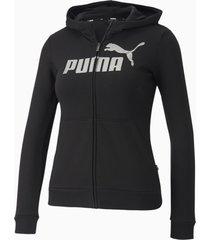 essentials+ sweaterjack met capuchon, zwart/aucun, maat 176 | puma