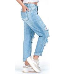 retro jeans claro con rotos