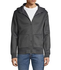 faux fur-lined textured hoodie