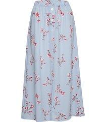 onlnova lux long button skirt aop wvn knälång kjol blå only