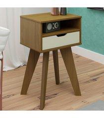 mesa de canto vip com nicho freijó c/off white - artely