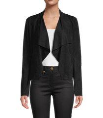 bagatelle women's open-front cardigan - black - size l