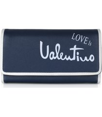 valentino by mario valentino designer wallets, stewie blue eco leather flap wallet