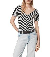 women's allsaints keavey chevron stripe stretch cotton bodysuit