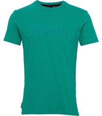 core faux suede tee t-shirts short-sleeved grön superdry