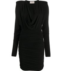 alexandre vauthier v-neck short jersey dress - black