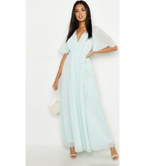 chiffon angel sleeve wrap maxi bridesmaid dress, mint