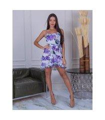 vestido miss misses floral com babadinho lilás