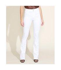 calça de sarja feminina flare cintura alta branca