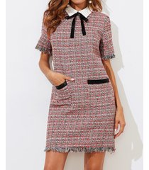 zip bow pockets fringe short sleeve tweed dress short work casual elegant
