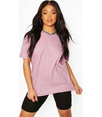 plus oversized washed t-shirt, pink