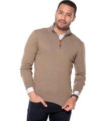 sweater khaky 20 preppy m/l c/alto 1/2 cremallera t.delgado