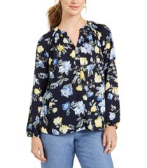 charter club petite floral-print georgette blouse, created for macy's