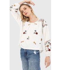 blusa blanco-multicolor esprit