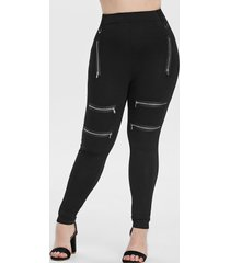plus size zipper embellished fitted leggings