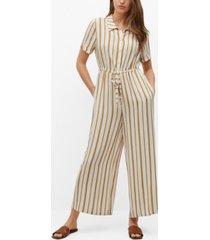 mango women's striped jumpsuit with belt