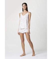 pijama hering curto com alças finas estampado branco