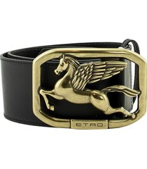 etro leather belt with pegaso buckle