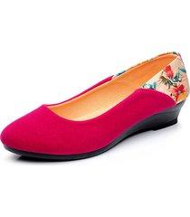 donna casual scarpe slip-on in camoscio con stampa floreale con tacchi wedge