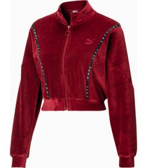 cropped velour full zip sweater voor dames, rood, maat m | puma