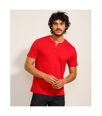 camiseta masculina básica manga curta gola portuguesa vermelha