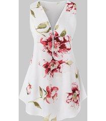 plus size half zipper floral print tank top