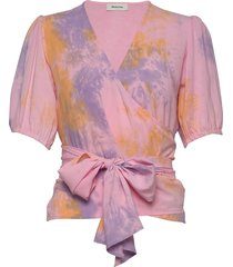 cello print top blouses short-sleeved roze modström